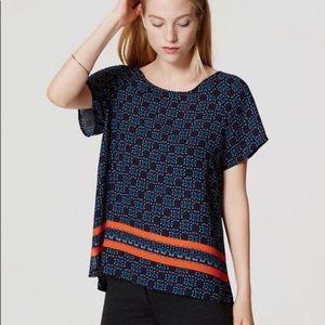 Ann Taylor LOFT Short Sleeve Blue Orange XLP